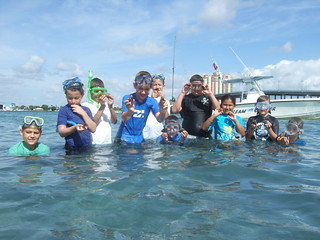 Group finding sea urchins.
