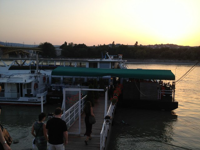 Boarding the boat for our Danube dinner cruise