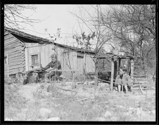 Rear view of the Glandon home at Bridges Chapel near Loyston, Tennessee. The children have shown considerable ingenuity in building a playground in the backyard, October 1933
