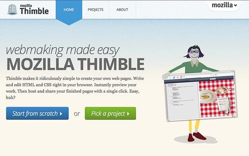 Page d'accueil de Mozilla Thimble