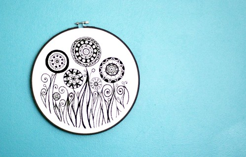 Black and White Abstract Embroidery Hoop Flower Garden