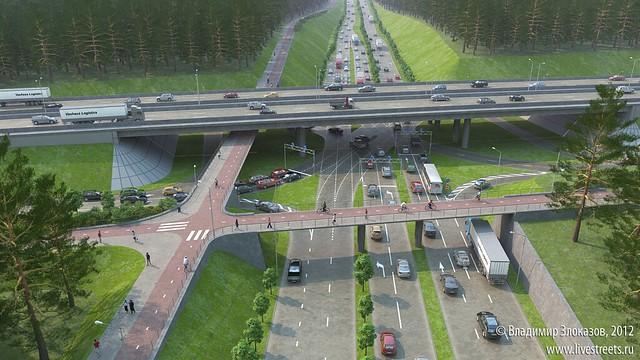 Московская-Объездная. Общий вид перекрестка
