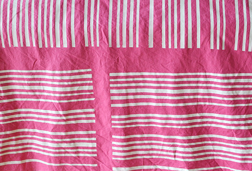 handprinted pink linen/cotton