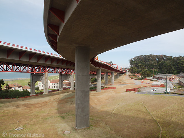 The new Presidio Parkway and the old Doyle Drove, San Francisco