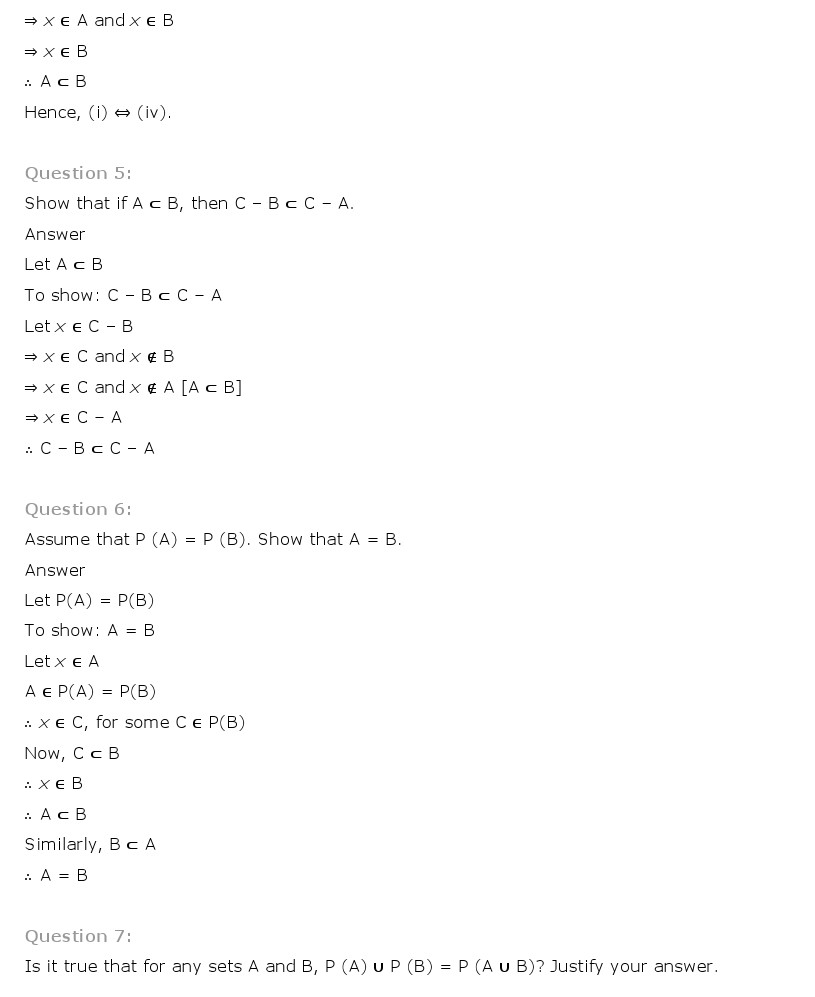 NCERT Solutions for Class 11 Maths Chapter 1 - Sets
