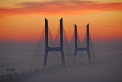 [Free Images] Architecture, Bridges, Sunrise / Sunset, Fog / Mist, Landscape - Portugal ID:201208080000