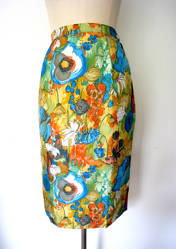 Bold Watercolor Floral Silk Pencil Skirt, vintage 60s