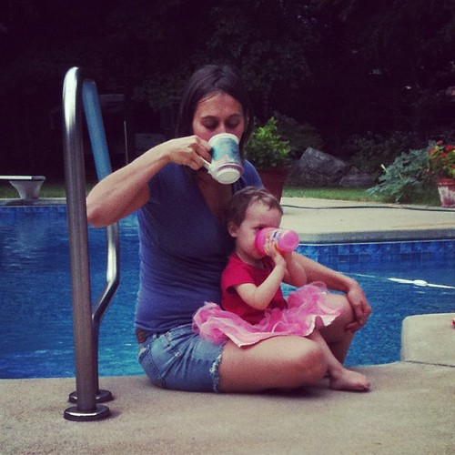 August. Lara and Lauren share a coffee moment.