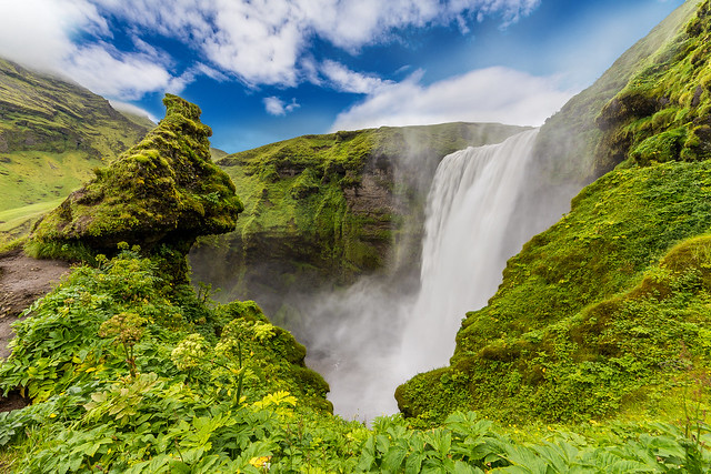 Skogafoss is a waterfall situated in the south of Iceland