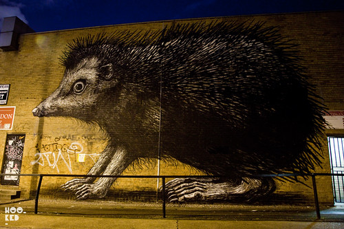 ROA's Shoreditch Hedgehog Street Art Mural by night