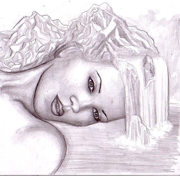 Mama Natura desen in creion - Mother nature pencil drawing ...