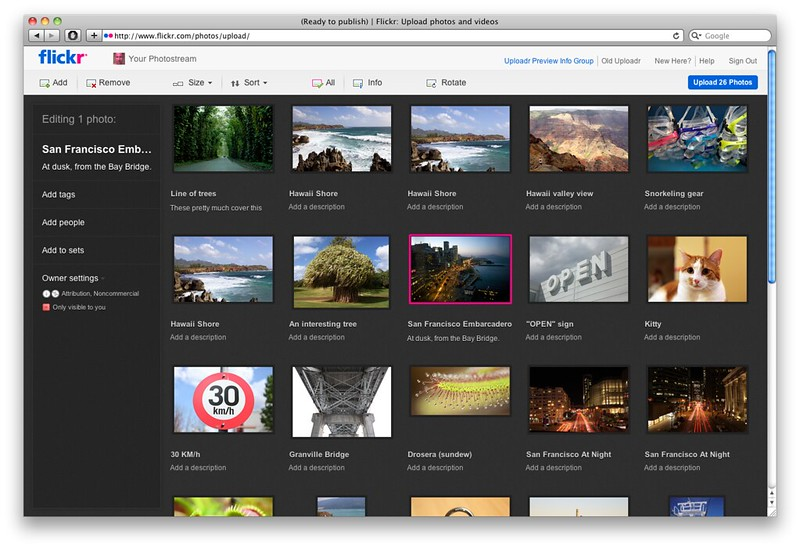Flickr Web Uploader UI (2012)