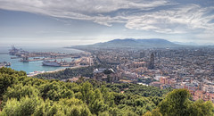 View – Vista del puerto y de la ciudad de Málaga (Spain), HDR