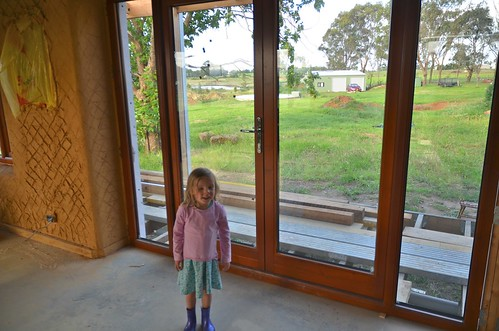 Phoebe shows off our new back door