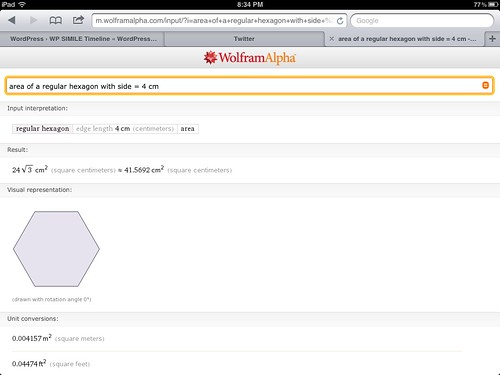 Calculating the area of a regular hexagon with WolframAlpha