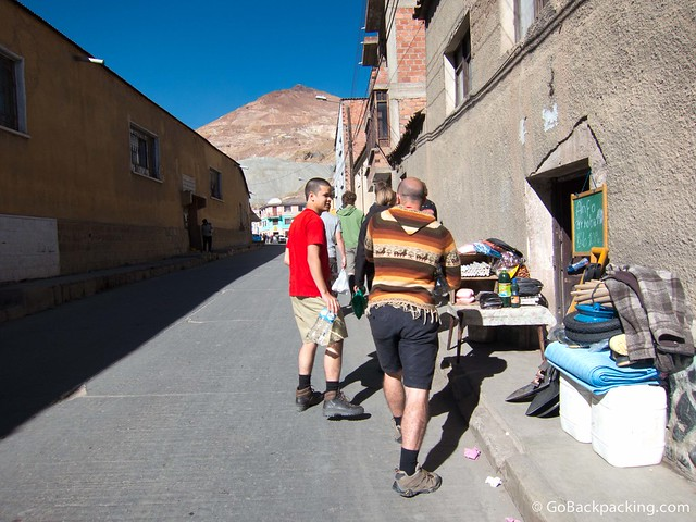 Leaving the market, Cerro Rico looms in the distance