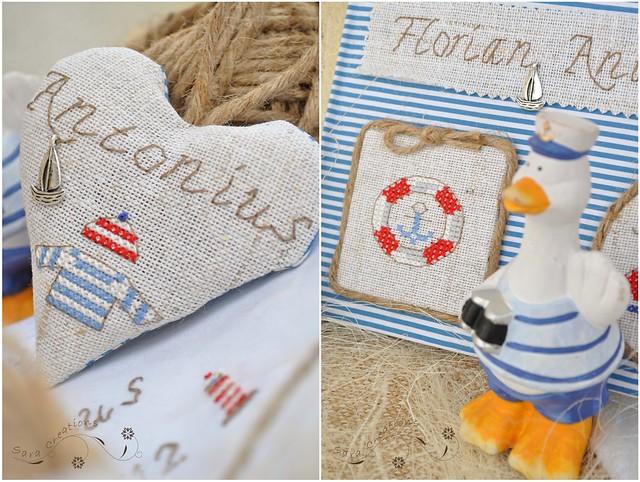 Little sailor - guesbook and lavender heart ( Micutul marinar - carte de oaspeti si inimioara cu lavanda )