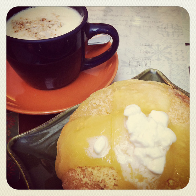 Cafe Mary Grace Three Cheese Ensaymada and White Hot Chocolate