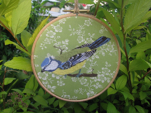 Perching Blue Tit Embroidery by Handmade and Heritage