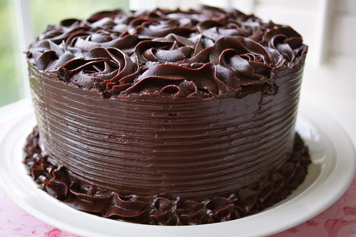 Chocolate and banana layer cake