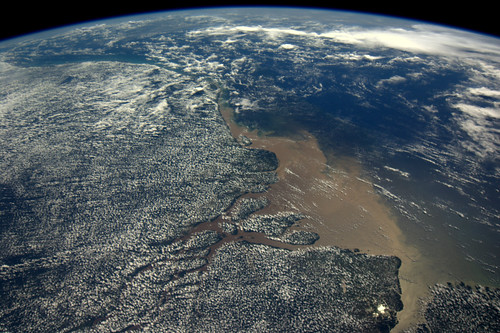Amazon river mouth, as seen from the ISS