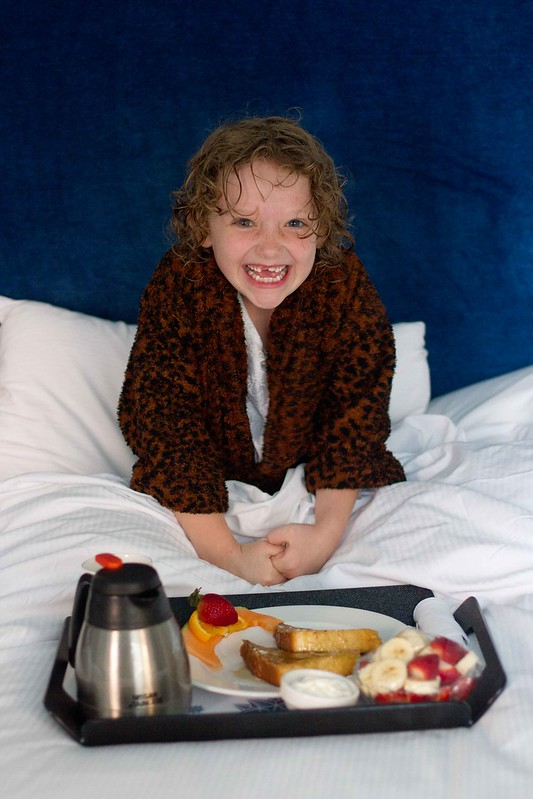 How to impress a seven year old, leopard robe and room service.