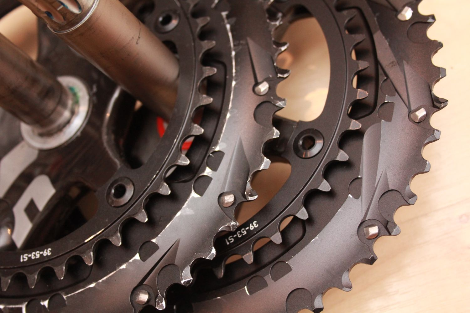 SRAM Red regular and pre-production chainrings
