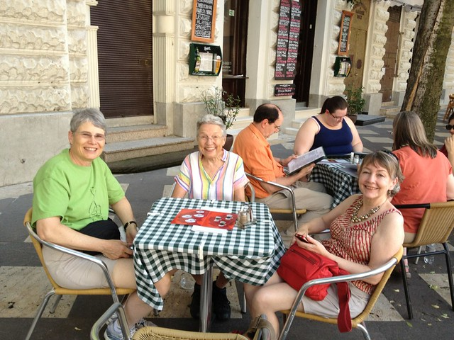 Choir members Sue G., Gail, and Shelley having lunch in a Hungarian cafe