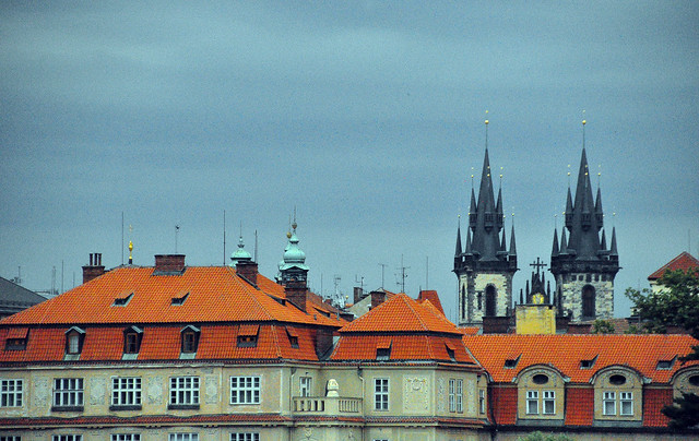 Roof Tops and Steeples From the Charles Bridge, Prague