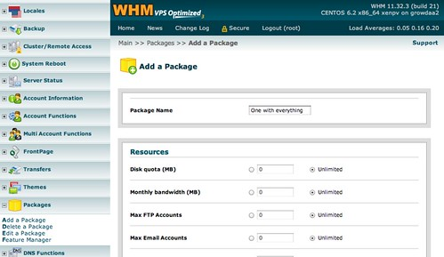 Add WHM Package
