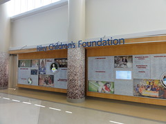 The Riley Children's Foundation wall in the new lobby.
