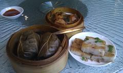 Sticky rice in lotus leaf, radish cake, pork-stuff…