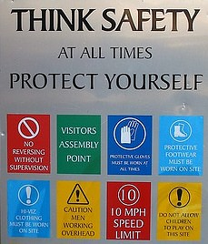 a sign that says THINK SAFETY