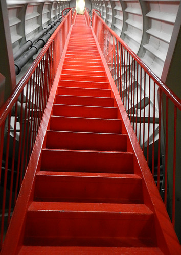 up the red staircase