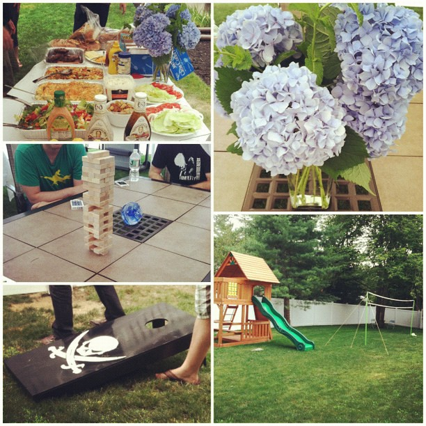 #Fun offsite today. Luckily the weather held up so we could play some #outdoorgames. #bbq #summer #summerfun #instafun #jenga #cornhole #badminton #volleyball #swingset #funinthesun #goodtimes #goodfood #instagood #picoftheday #hydrangea