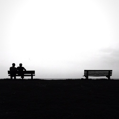 An empty bench for you and me..... #martinstapleton #iphone4 #beach #blackandwhite #streetphography