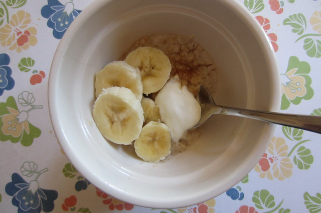 Addy eats: oatmeal, banana, and Greek yogurt