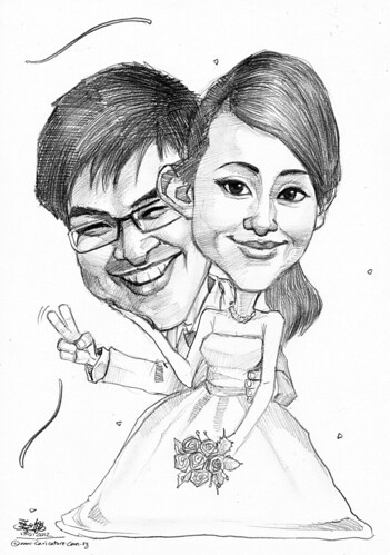 wedding couple caricatures in pencil