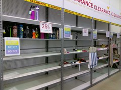 Tuesday Morning clearance shelves emptying out