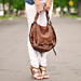 madewell white jeans-denim shirt - kooba jonnie bag-lamb sandals