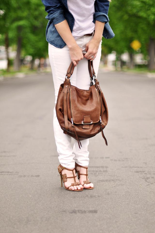 madewell white jeans-denim shirt - kooba jonnie bag-lamb sandals