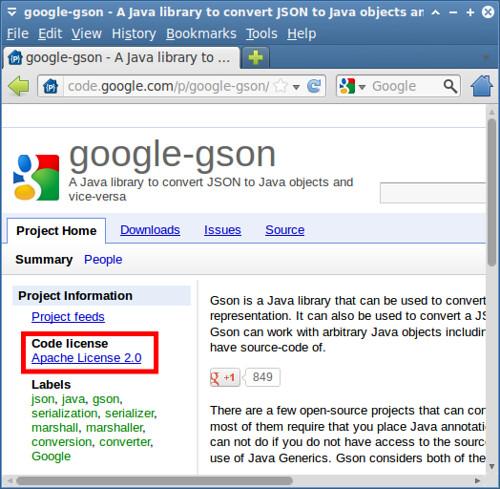圖3: Google Gson 專案授權聲明 (http://code.google.com/p/google-gson/)