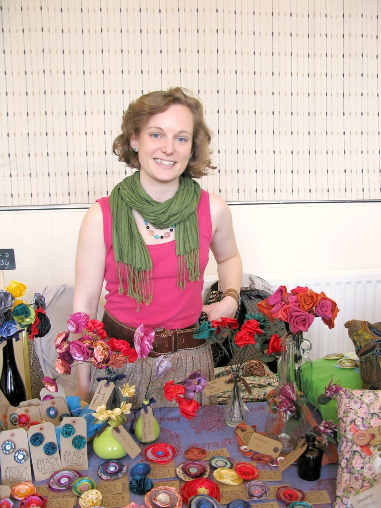 Lovely Ruth, of Rag Rose, the talented hands that crafted all of these gorgeous fabric roses - at The Market, April 28th 2012 | Emma Lamb