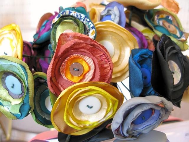 Beautiful fabric blooms by Rag Rose at The Market, April 28th 2012 | Emma Lamb