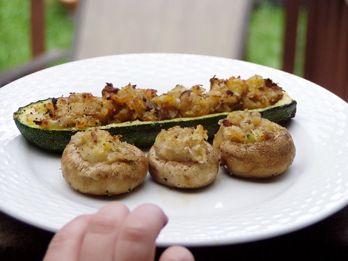 Grilled Stuffed Mushrooms and Squash