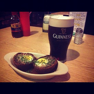Guinness and a scotch egg.