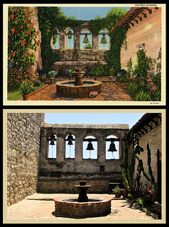 photo & postcard - Mission San Juan Capistrano Then&Now 1