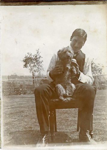 Man with a dog.