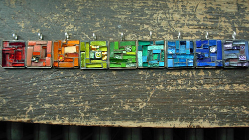 Mosaic Pendant Rainbow by Margaret Almon of Nutmeg Designs