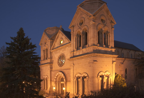 Cathedral Basilica of St-Francis in Santa Fe photographed at night